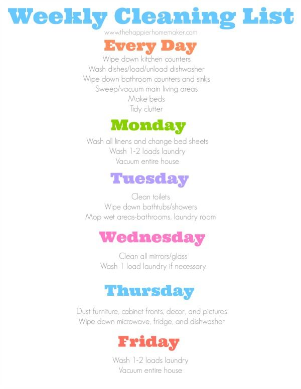 Daily Cleaning Schedule With Images Daily Cleaning