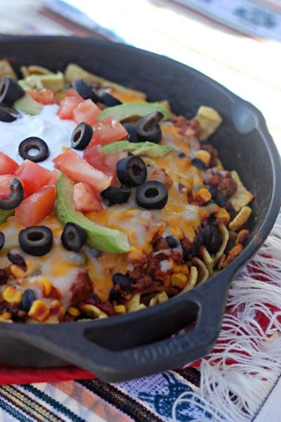Mexi Frito Pie all made in one skillet for an easy dinner!