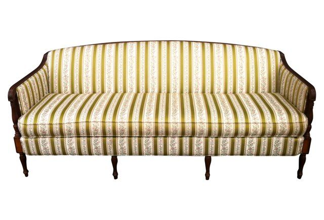 1950 S Clyde Pearson Regency Style Sofa W Columned Details