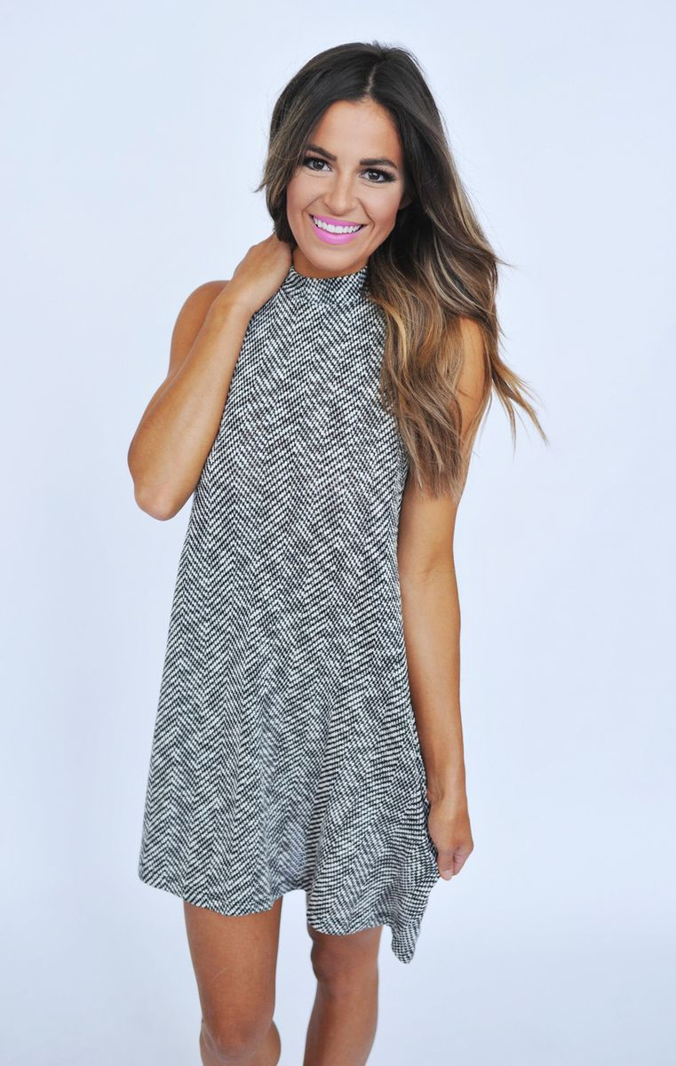 Herringbone Mock Neck Dress - Dottie Couture Boutique