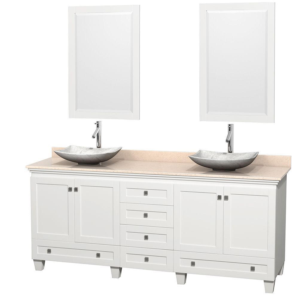 Double sink white bathroom vanities wyndham collection acclaim inch double white vanity white