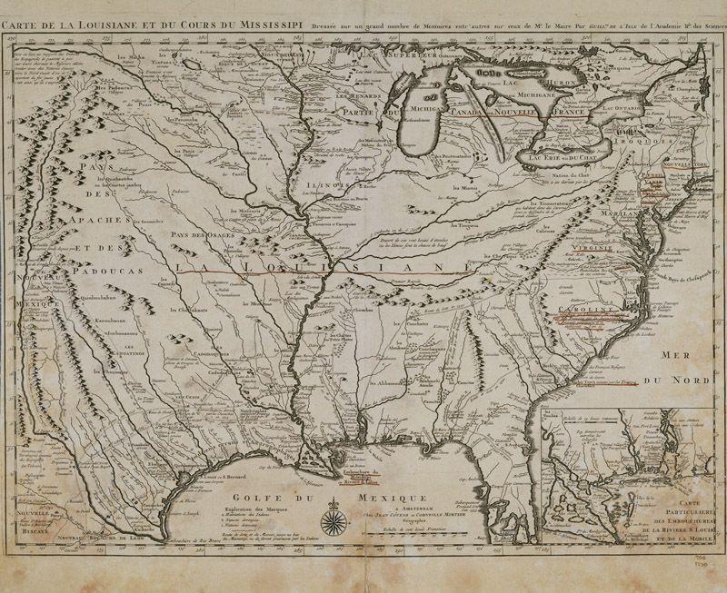 """""""Carte de la Louisiane et du cours du Mississipi"""".  Dressée sur un grand nombre de Mémoires, entr' autres..."""