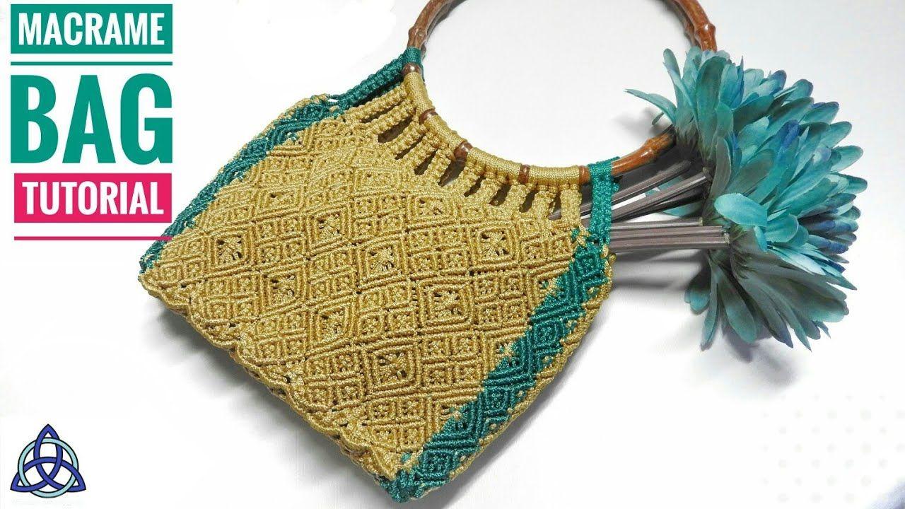 Diy Macrame Bag With Wooden Handles Macrame Craft Ideas Macrame Bag Macrame Diy Diy Bags Tutorial