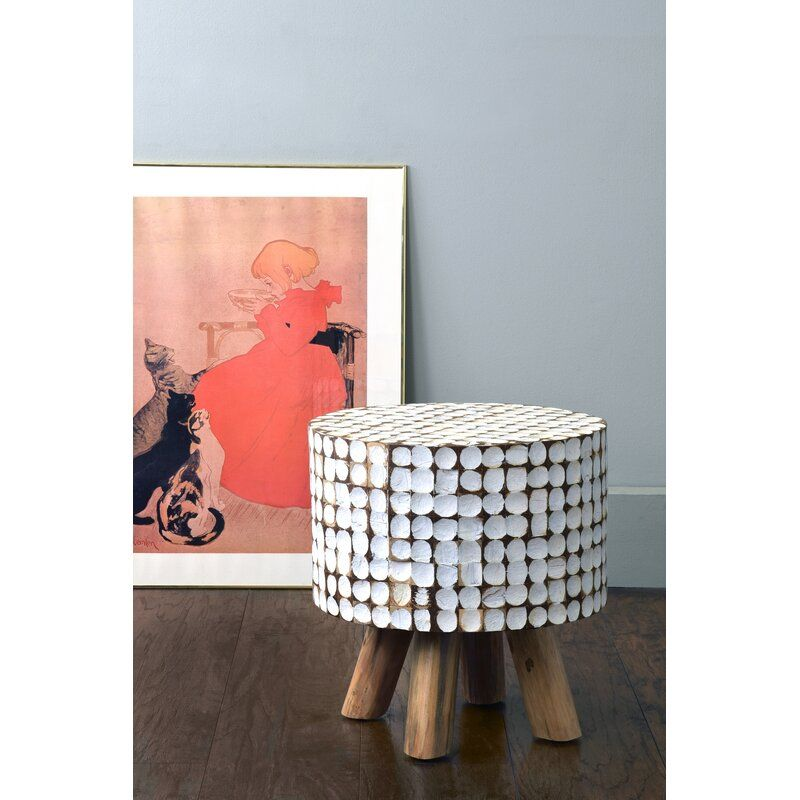 Gautreau Teak Stool In White Wash In 2020 Accent Stool White Accents Stool