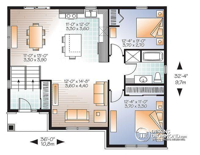 Plan de Rez-de-chaussée Maison champêtre, split-level, 2 chambres - plan de maison duplex gratuit pdf