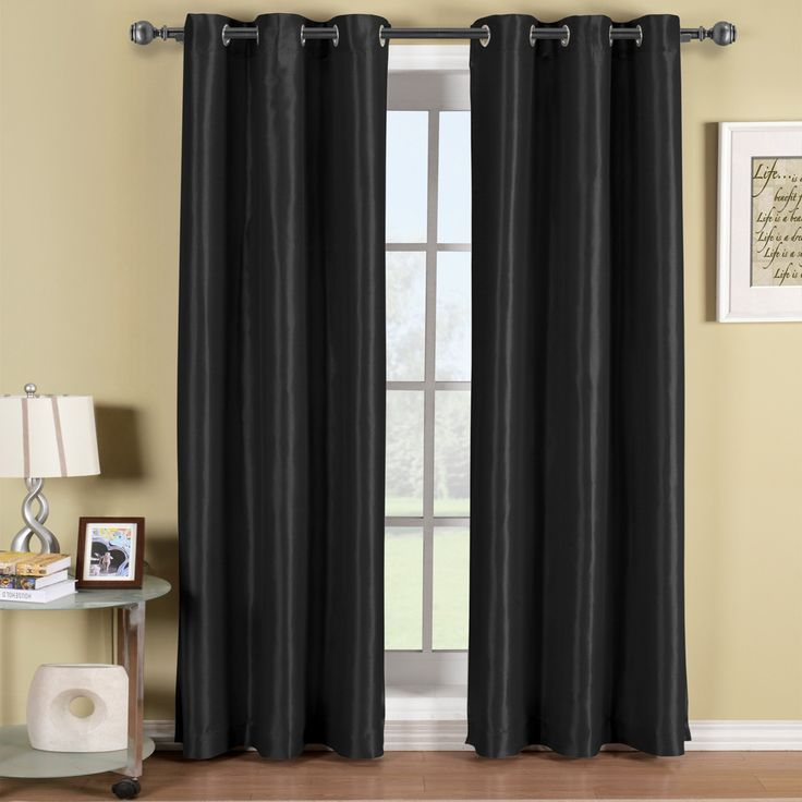 Soho Grommet Thermal Blackout Black Window Curtain Panels With Triple Pass  Foam Back Layer To