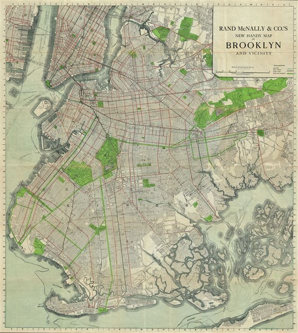 1911 Rand McNally Pocket Map of Brooklyn New York