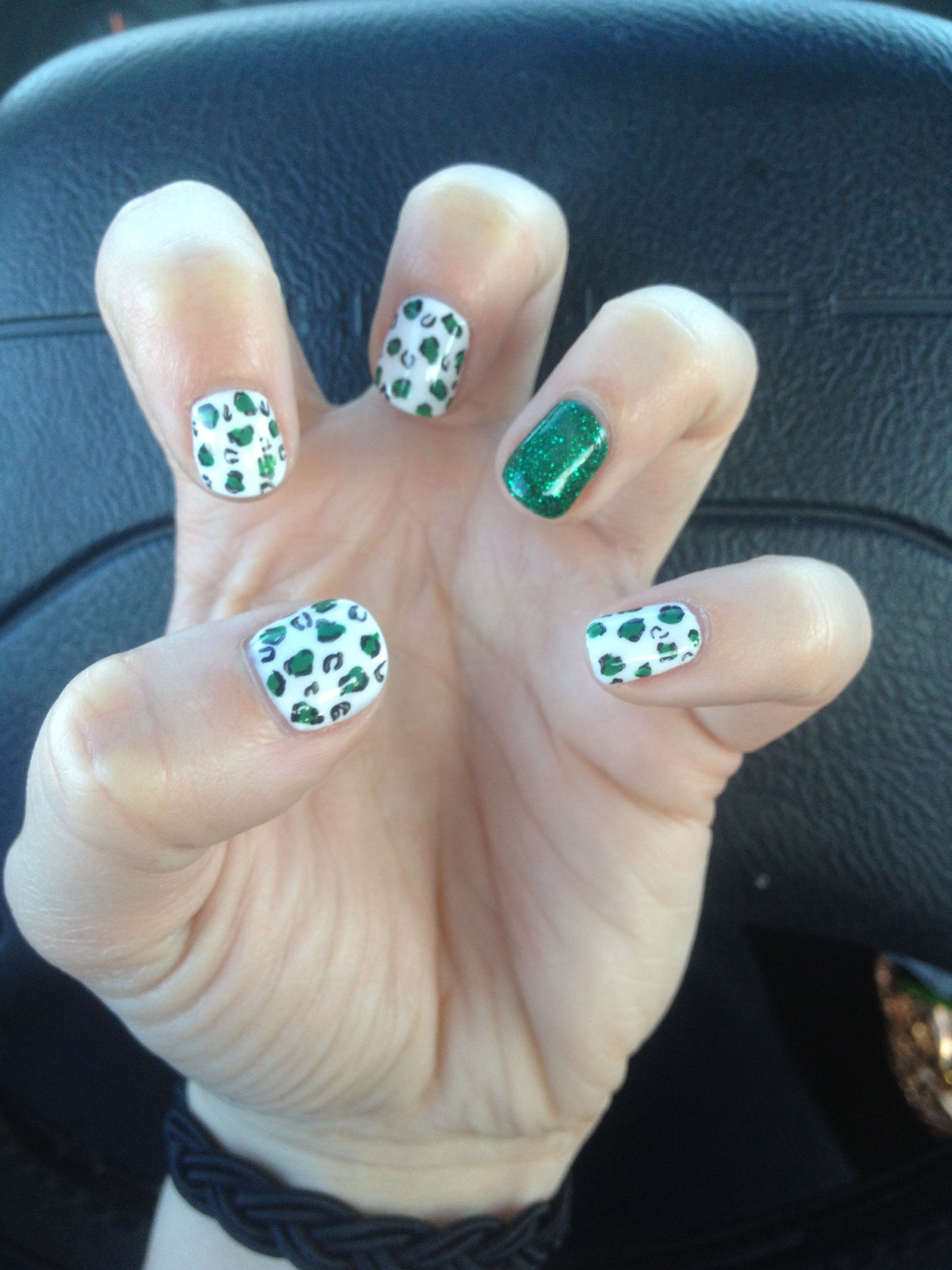 Green Leopard Print/Glitter Shellac Nail Design for St. Patrick's Day | Done by Buddy Sims
