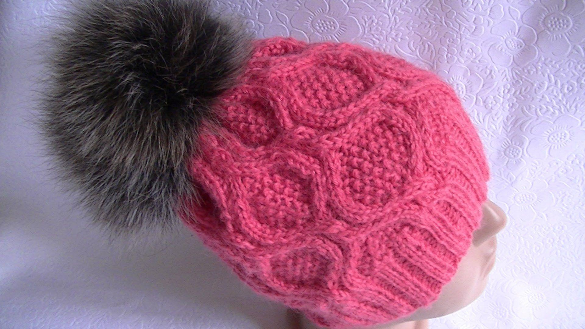 вязание шапки узором с ромбами на круговых спицах головные уборы