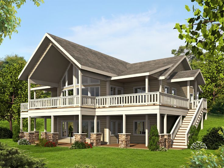 012h 0241 Waterfront House Plan Mountain House Plans Craftsman House Plans Lake House Plans