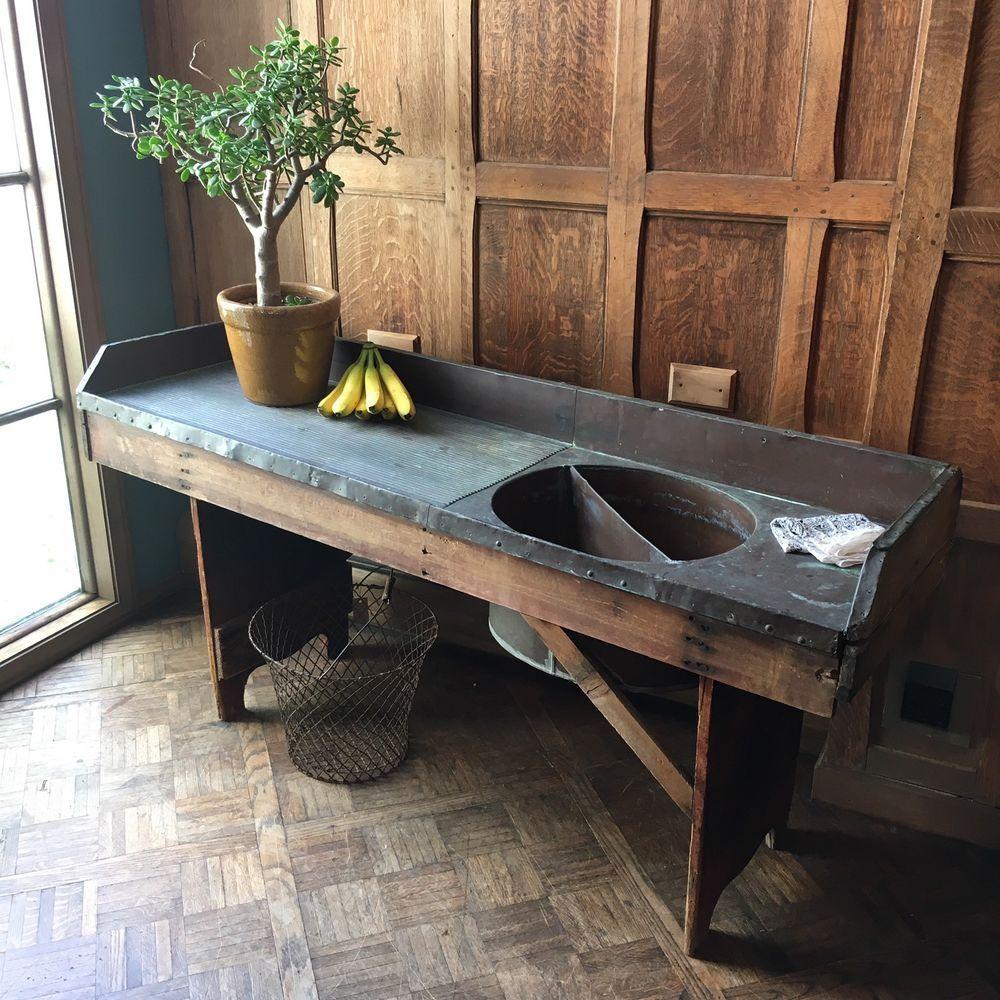 Details about Antique Copper Sink, Large Farmhouse Sink