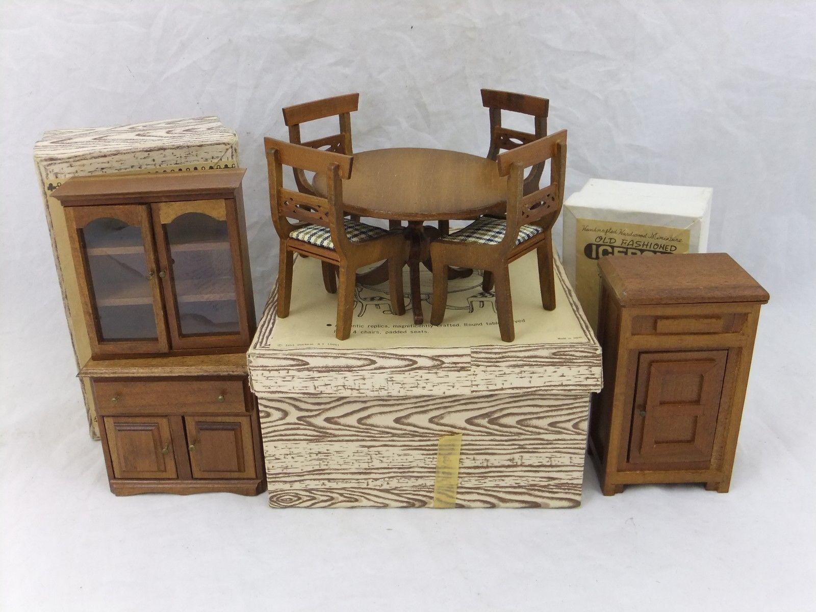 miniature dollhouse furniture woodworking. Vintage Dollhouse Furniture, Shackman Dining Table \u0026 Chairs Hutch Icebox, W/ Box Miniature Furniture Woodworking