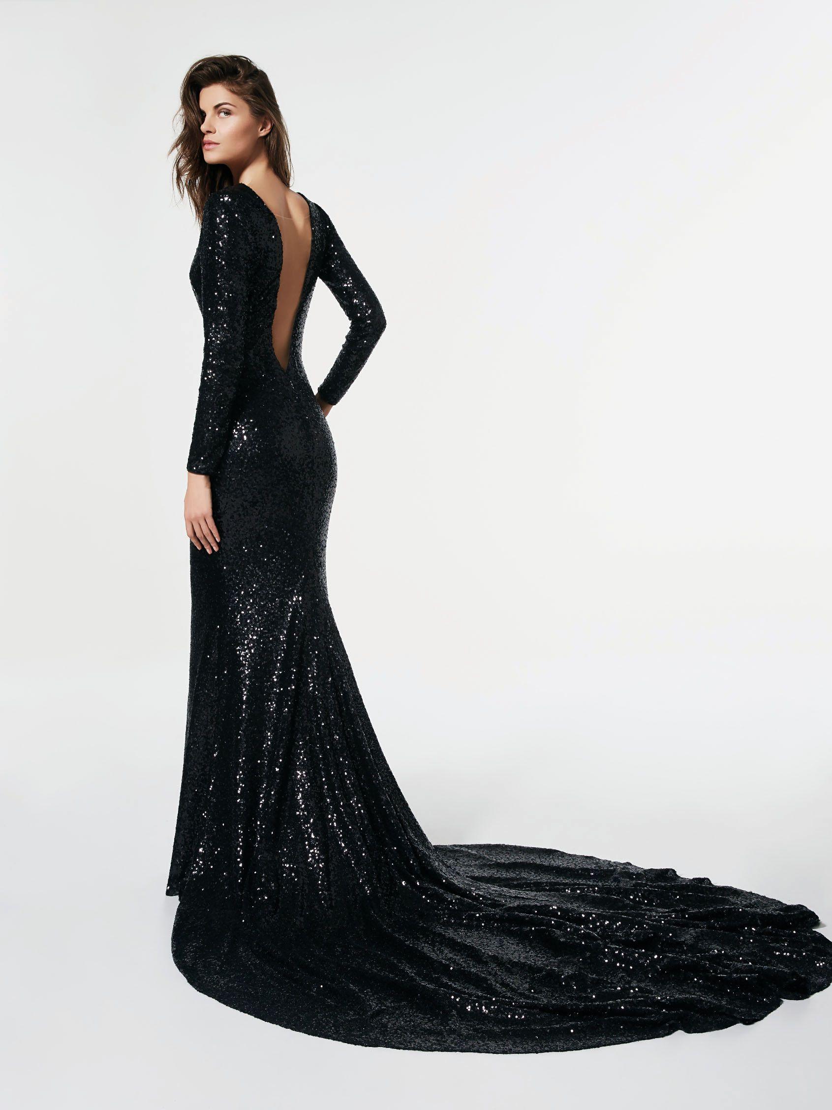 cecd23557c Imagen del vestido de fiesta negro (62085). Vestido GLASGOW largo manga  larga