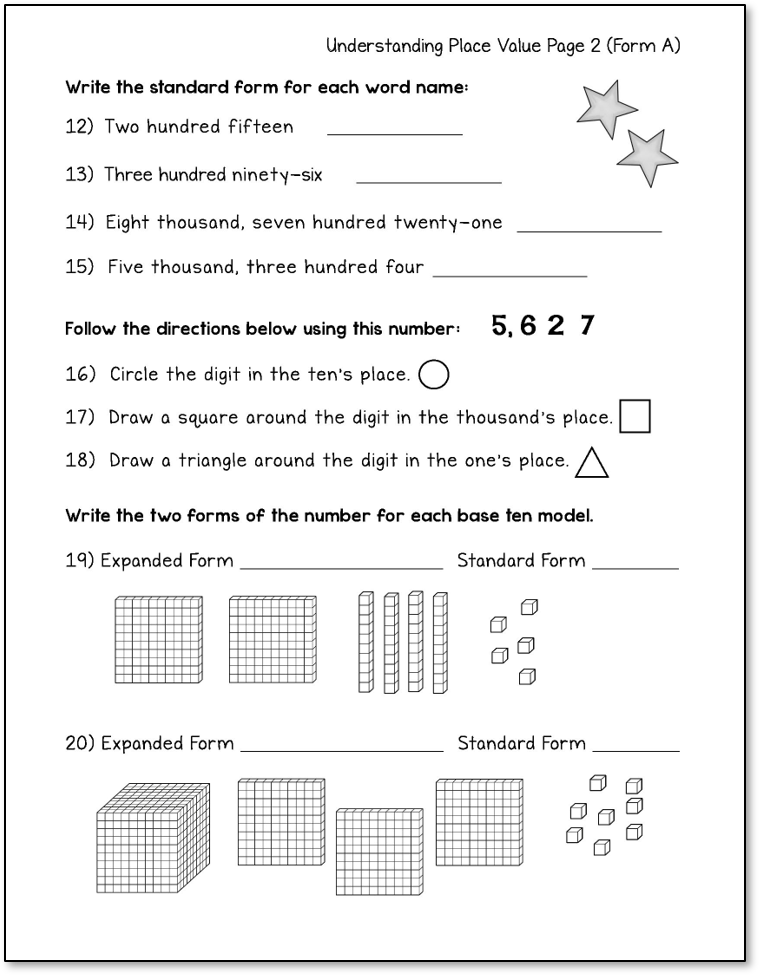 Place Value Printables 3rd Grade Place Value Worksheets Place Values Student Reflection