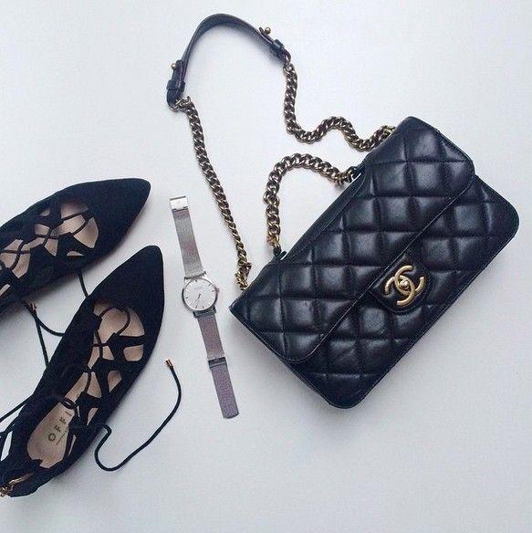 black purse, black heels, cute watch