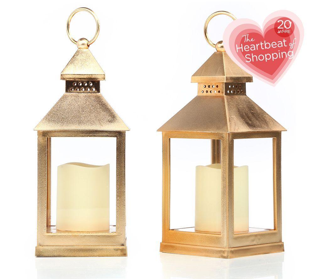 Elambia Flammenlose Kerzen Inkl Mini Laternen Metallic Finish Hohe Ca 24cm 2tlg Qvc De Mini Laterne Flammenlose Kerzen Kerzen