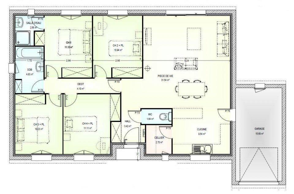plan maison plain pied gratuit 4 chambres 2 Plan Maison Plain Pied - maisons plain pied plans gratuits