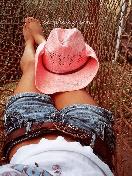 Denim shorts - cn-photography Awesome. This is like when a girl kicks off her cowboy boots to relax.