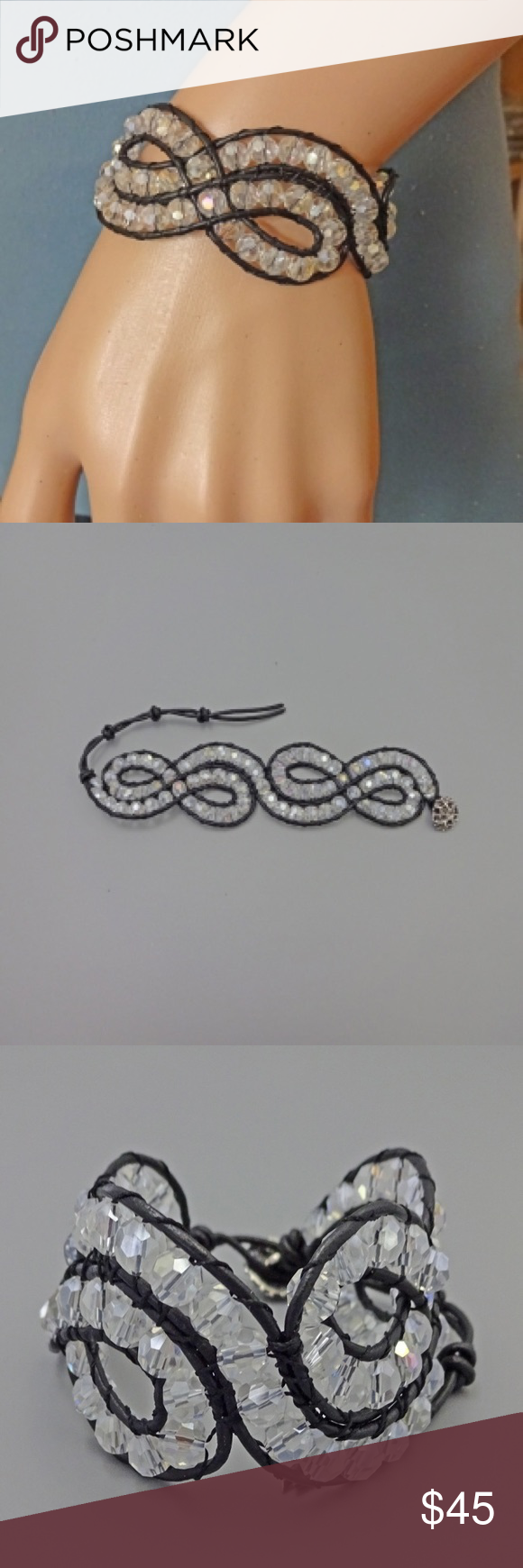 Beautiful handmade bracelet from crystals! Beautiful handmade bracelet made on leather with crystals ! Jewelry Bracelets