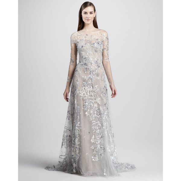 Monique Lhuillier Embroidered Illusion Gown (£1,520) via Polyvore featuring dresses, gowns, pleated dress, metallic lace dress, embroidered lace gown, embroidered lace dress and flare dress