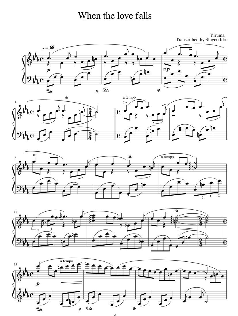 Print And Download When The Love Falls When The Love Falls Yiruma
