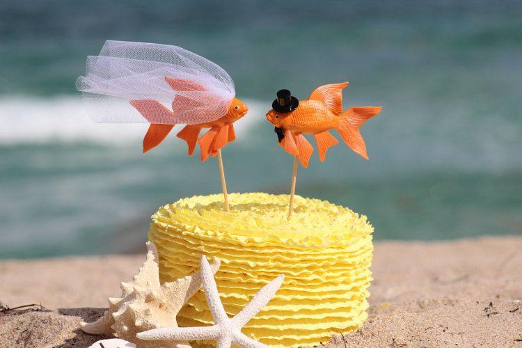 Fish Wedding Beach Cake Topper - Goldfish Mr & Mrs- Beach Wedding ...