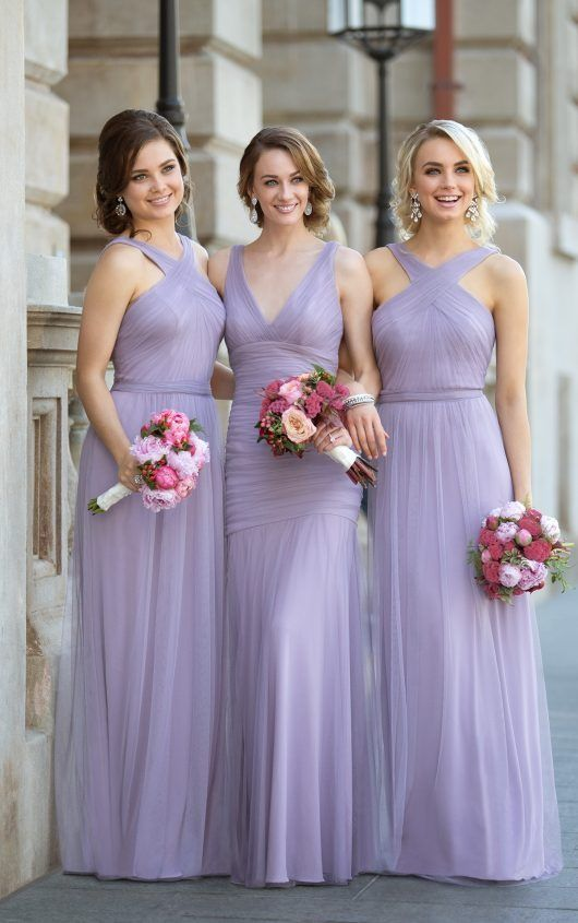 Flowing CrissCross Strap Bridesmaid Dress is part of Lavender bridesmaid dresses - Featuring the new Soft English Net over Luxe Double Knit, this bridesmaid dress provides an air of ethereal romance without sacrificing comfort  The Luxe Double Knit underlayer provides a sweet, sheath shape to the gown, while the Soft English Net makes the perfect, flowing outer layer  Completed with a fun crossstrap neckline, this style is ideal […]