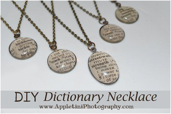 DIY Dictionary Necklace | Appletini Photography