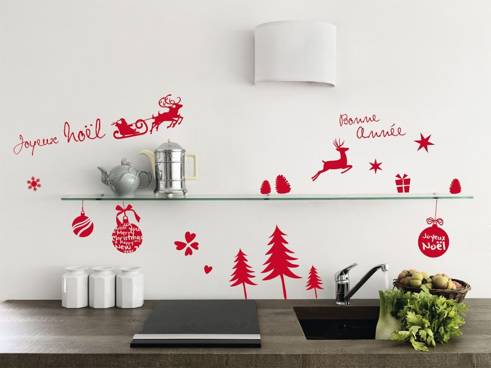 Boules et fantaisies stickers muraux sticker mur objet noël deco