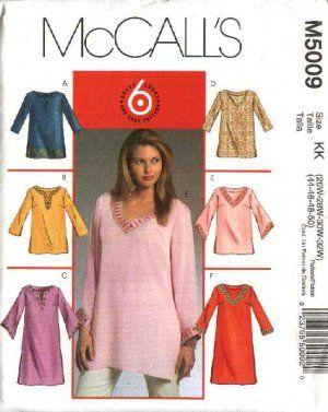 2cea5f137dd979 McCallâ  s Sewing Pattern 5009 Womans Plus Size 26W-32W Easy Pullover Tunics  Tops Kurtas