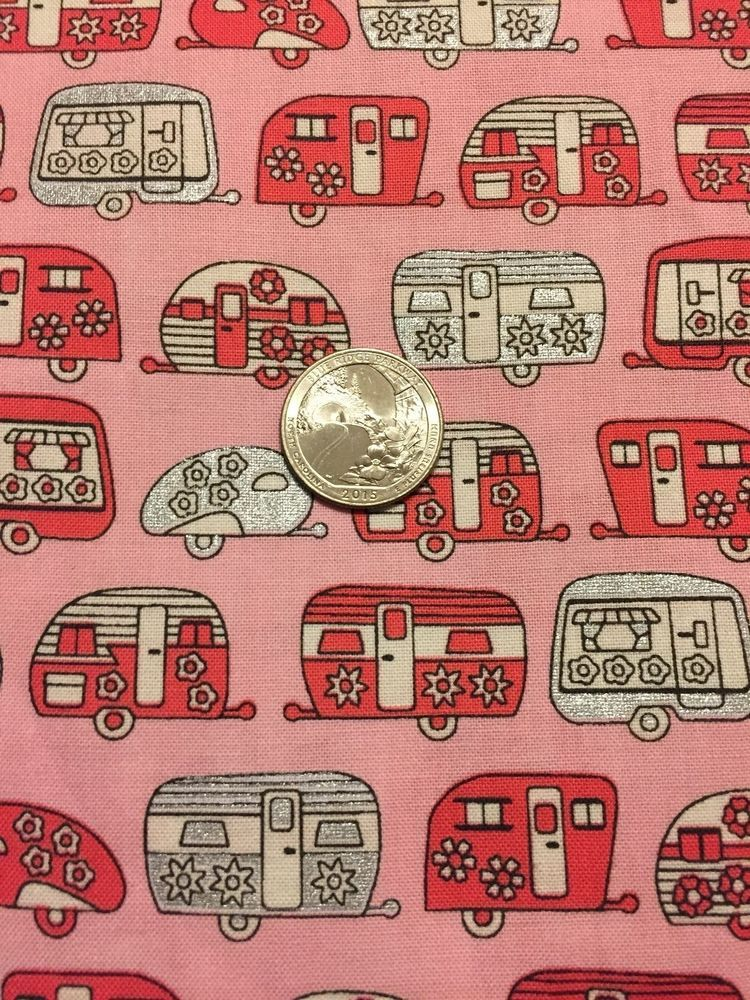 RV CAMPER 100% cotton fabric Pink with metallic by the yard Robert Kaufman #RobertKaufman