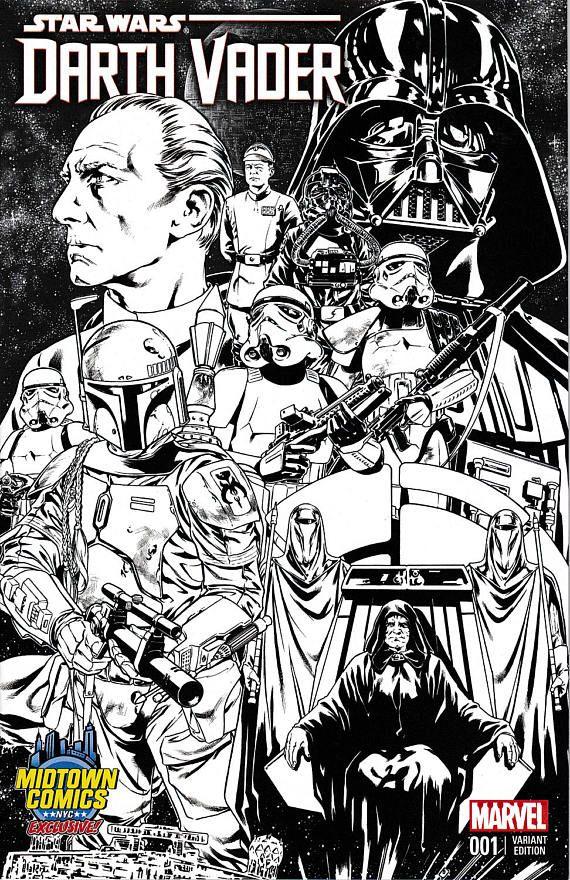 Star Wars Darth Vader 1 Midtown Comics Black and White | Comic Book ...