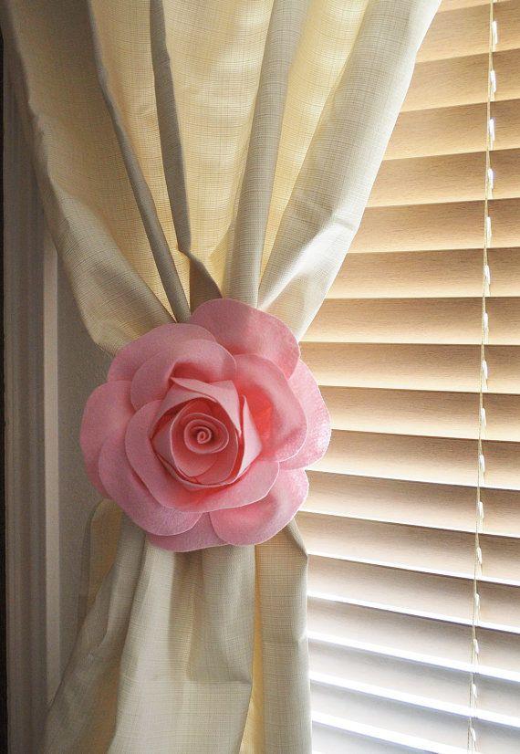 Curtains Ideas black friday curtain sales : ONE Rose Flower Curtain Tie Backs Curtain Tiebacks Curtain ...