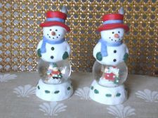 Pfaltgraff Snow Village Snow Globe Snowman Salt & Pepper Shakers S