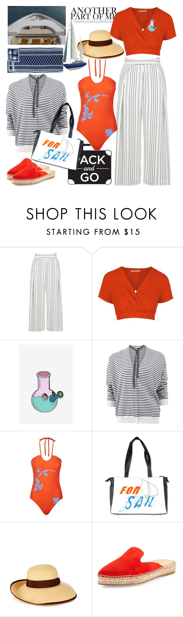"""""""Labor Day  Boat Trip"""" by ellie366 ❤ liked on Polyvore featuring Topshop, Big Bud Press, Brunello Cucinelli, Kismet, Tory Burch, Gucci, Prada, stripes, boatTrip and september"""