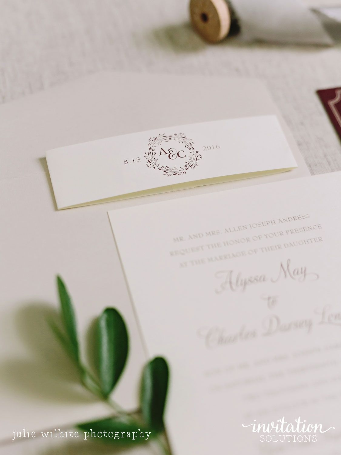 Pop of Burgundy Invitation Suite with Band