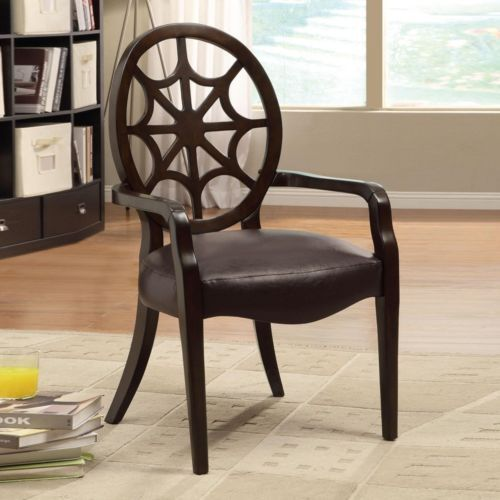 Accent Seating Spider Web Carved Wood Back Chair Upholstered Seat Cushion  Arm | EBay