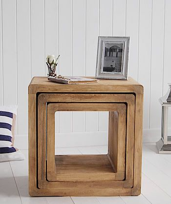 Driftwood effect furniture nest of tables