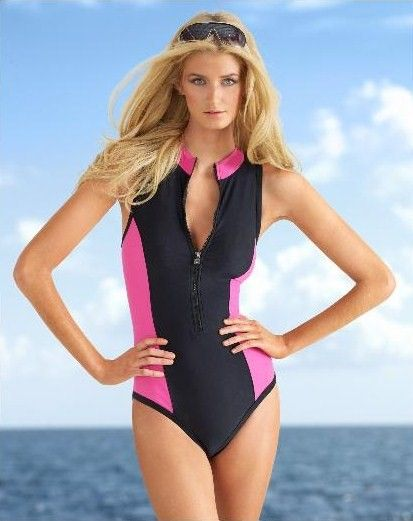 008e956f6e65bc Neon Pink & Black Newport News Scuba-Look Sport Zip-up One Piece Swimsuit-  My daughter and I both wore this suit to snorkel in Jamaica.