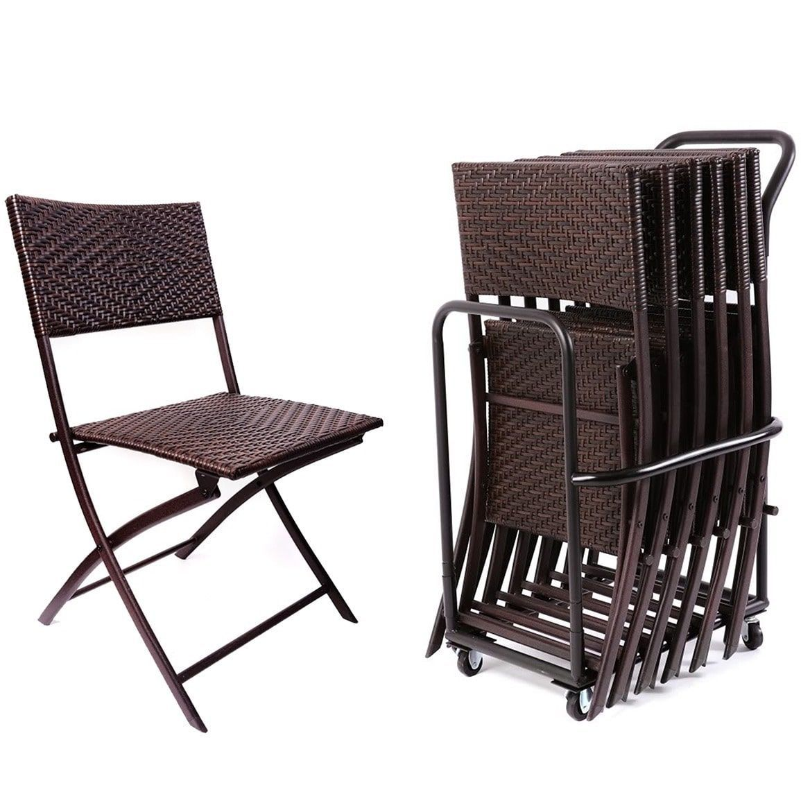 RST Folding Indoor and Outdoor Chairs and Cart (Set of 6), Bronze ...