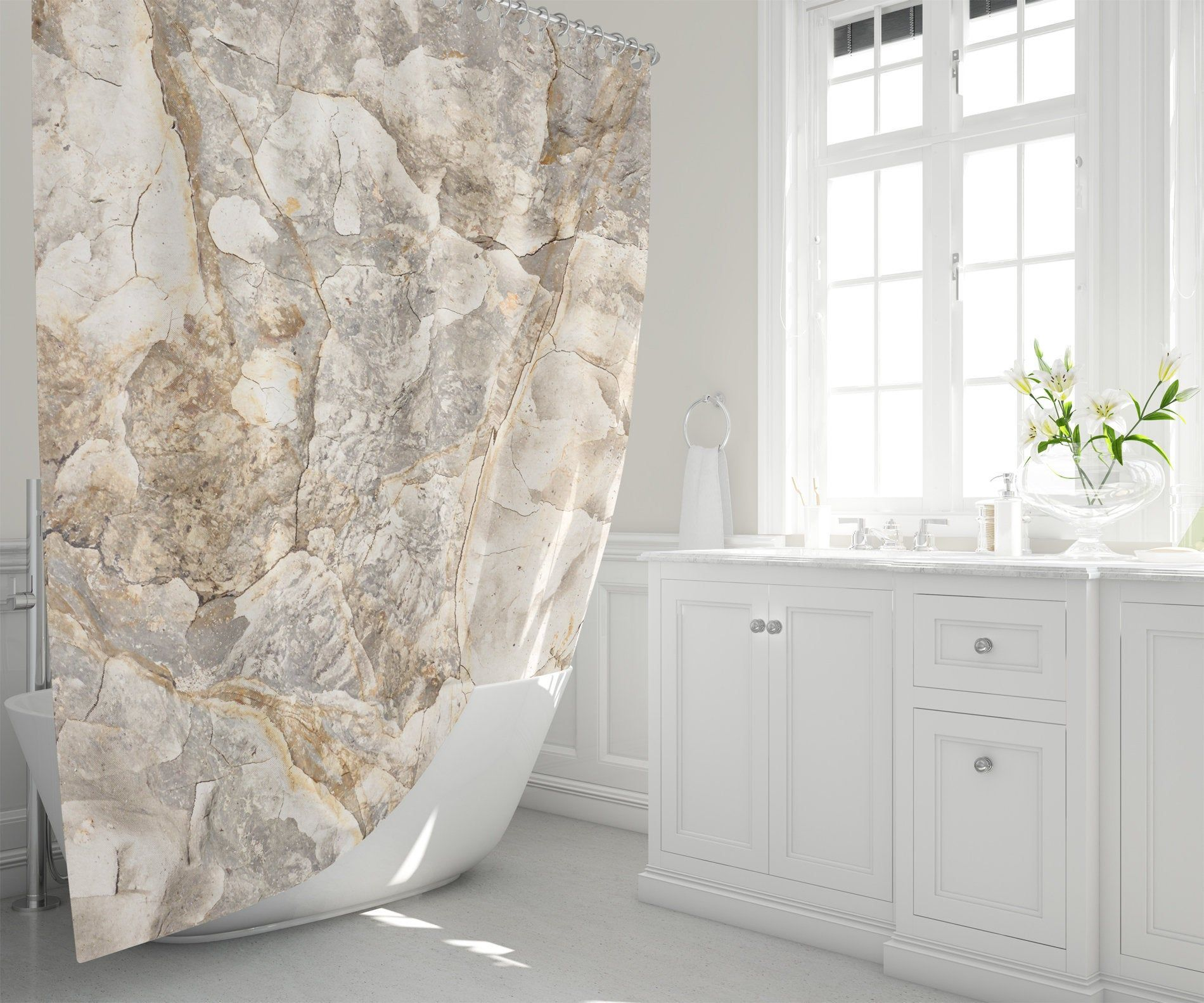 Natural Abstract Shower Curtain Marbled Clay In Warm Neutral
