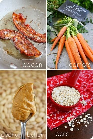 Dog Treats Recipe; I think I will take out the bacon and just add more carrot and a little extra peanut butter!