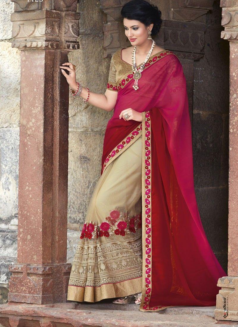 Lovely magenta and cream wedding saree my kinda girl pinterest