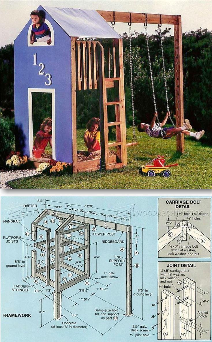Kids Play Structure Plans Children S Outdoor Plans And Projects Woodarchivist Com Backyard Fun Diy Kids Furniture Backyard Playset