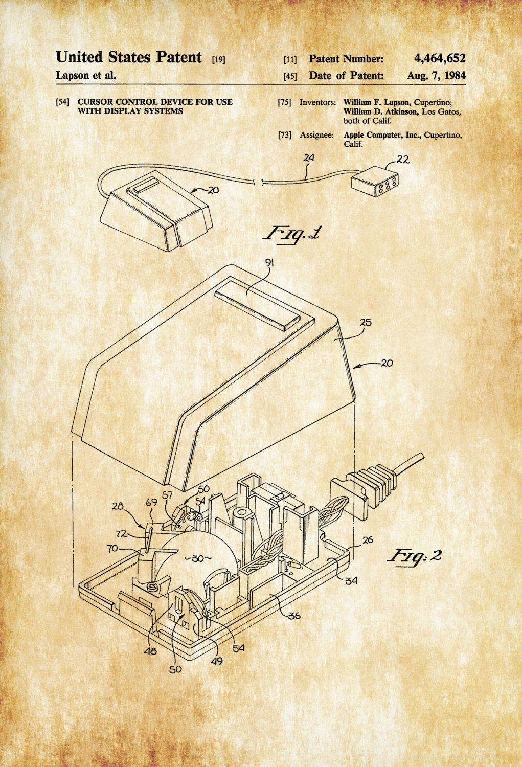 Apple Computer Mouse Patent 1984 – Patent Print, Wall Decor ...