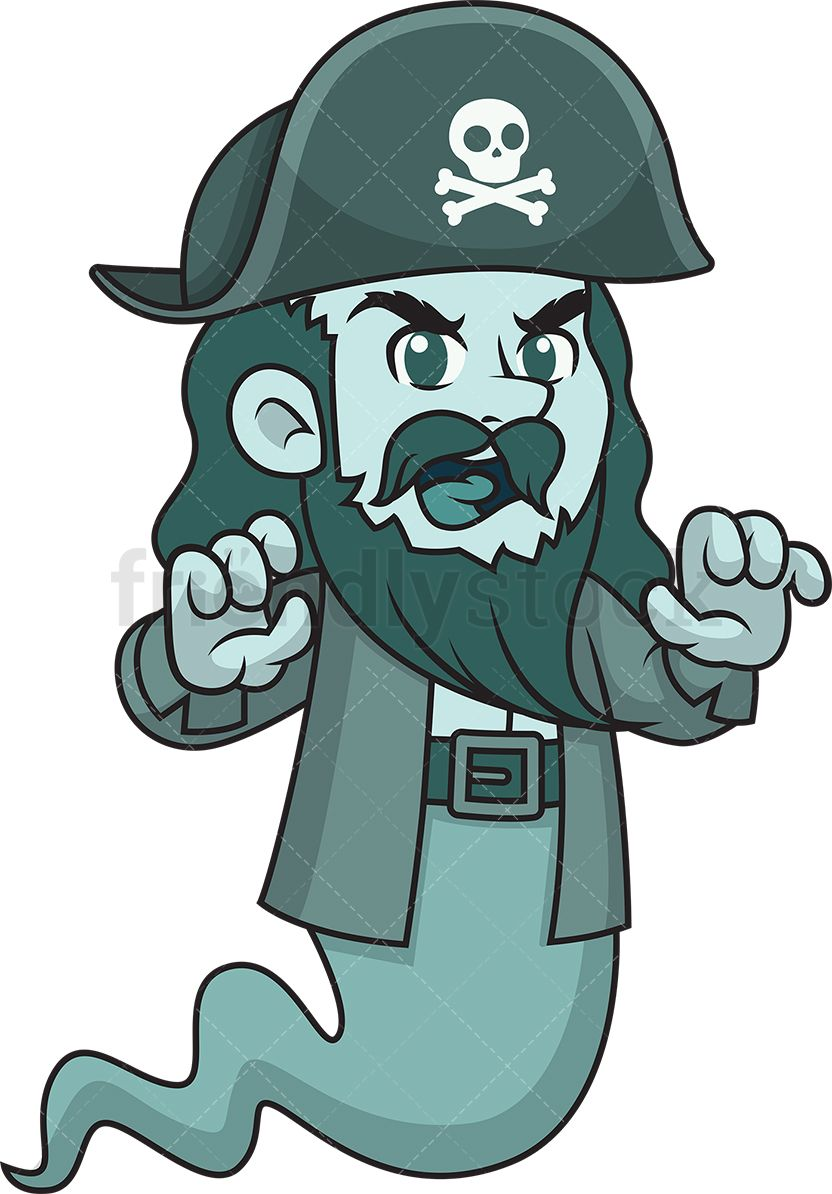 Scary Pirate Ghost Cartoon Clipart Vector Vector