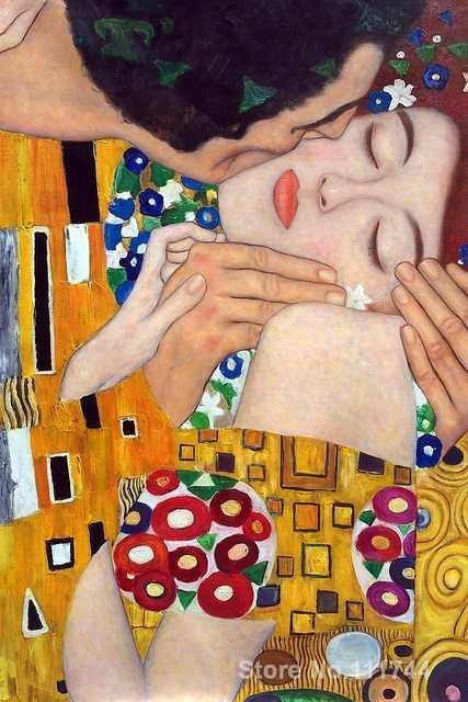 Photo of Online Shop Woman in gold The Kiss (close up) Gustav Klimt paintings canvas art Hand painted …