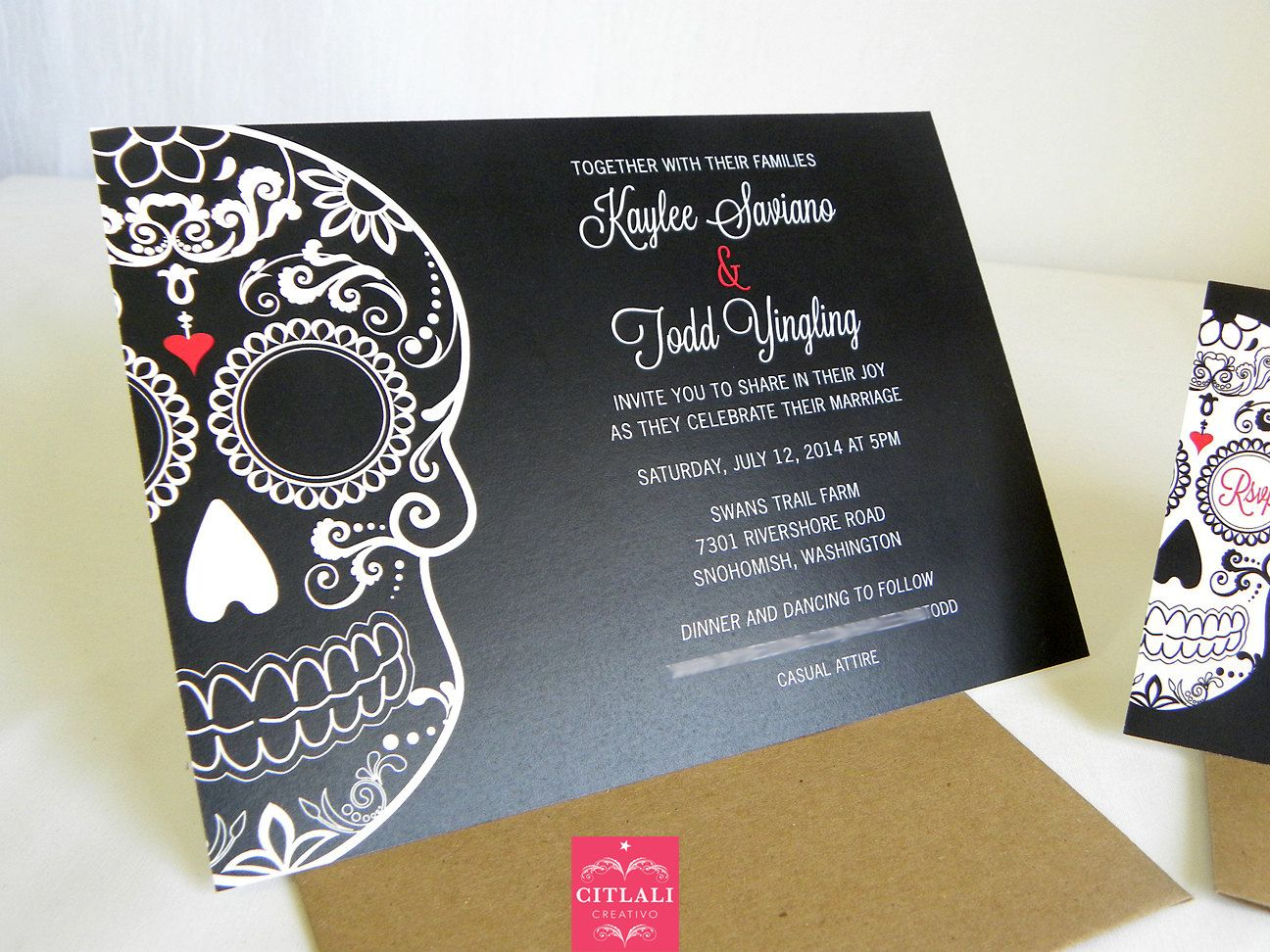 Day Of The Dead Wedding Invites Dia De Los Muertos Invitations Mexican Sugar Skull Calavera In Kraft Red And Black Or Your Colors