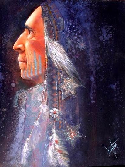 THE SHAMAN An Original Oil Painting by Denton Lund | Native American