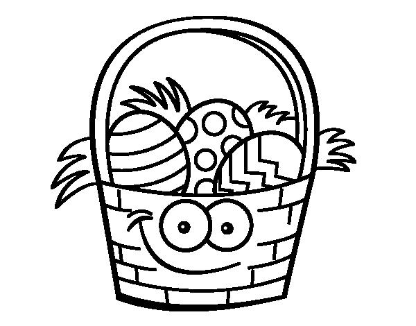 Dibujo de Cesto con huevos de pascua para colorear | colección ...